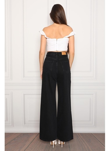 Darkly Jeans Süper Yüksek Bel Geniş Paça Siyah Wide Leg Kadın Jean Pantolon Siyah